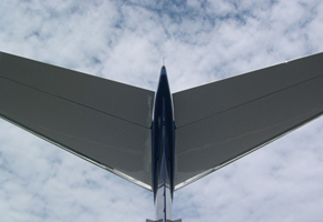 Bates Jet Legacy Aircraft Tail Sky Looking up to corporate management